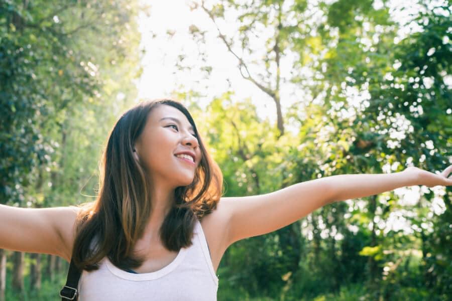 happy woman vegan period